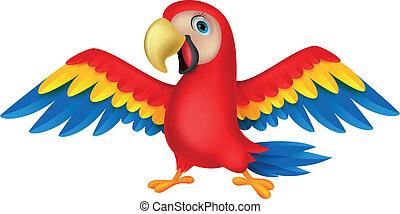 Vector illustration of Cute parrot bird cartoon