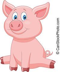 Vector illustration of Cute pig cartoon