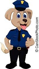 cute police dog cartoon thumb up