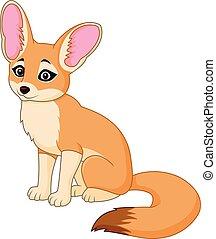 Cute red fox sitting