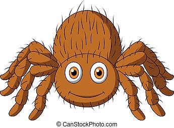 Vector illustration of Cute tarantula spider cartoon