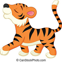 Vector illustration of Cute tiger cartoon