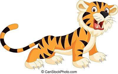 Vector illustration of Cute tiger cartoon roaring