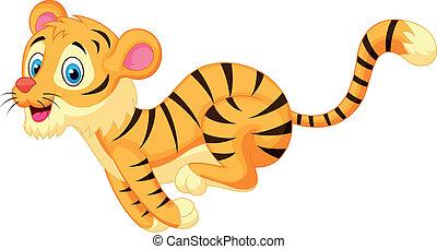 Vector illustration of Cute tiger cartoon running