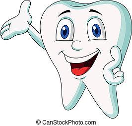 Vector illustration of Cute tooth cartoon presenting