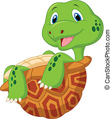 Vector illustration of Cute tortoise cartoon