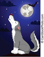 Cute wolf cartoon fowling