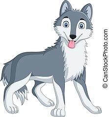 Cute wolf cartoon on white background