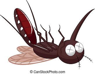 Vector illustration of Death mosquito cartoon
