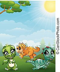 Dinosaurs cartoon in the jungle