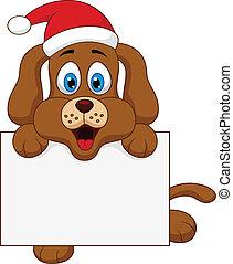 dog cartoon christmas with blank si