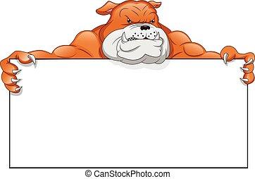 english Bulldog Cartoon and blank sign