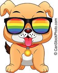 english Bulldog Cartoon wearing eyeglasses