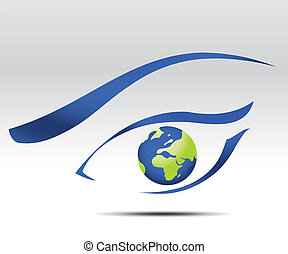 Vector illustration of eye logo, future vision