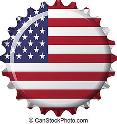 flag of united state of america in crown cap shape