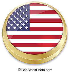 flag of united state of america in in button shape