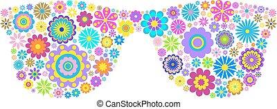 floral eyeglasses on white background