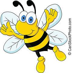 vector illustration of funny bee cartoon character