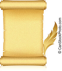 gold scroll and feather