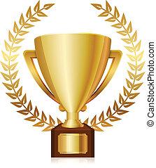 Vector illustration of gold shiny trophy and laurels