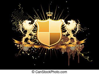 Vector illustration of golden heraldic shield or badge with banner and two lions