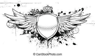 Vector illustration of grunge heraldic shield or badge with two wings, crown and floral elements