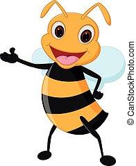 Happy bee cartoon presenting