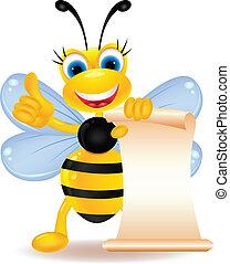 happy bee cartoon with blank sign