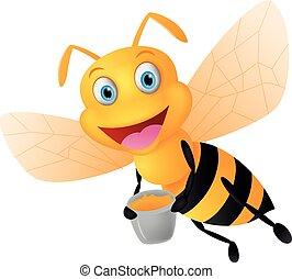 happy bee cartoon with honey