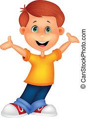 Vector illustration of Happy boy cartoon posing