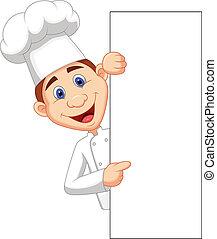 Vector illustration of Happy chef cartoon holding blank sign
