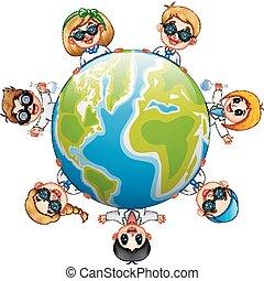 Happy children around the earth