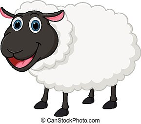 Vector Illustration of Happy sheep cartoon