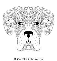 head of dog on white background