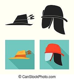 Vector illustration of headgear and cap symbol. Set of headgear and accessory stock vector illustration.