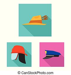 Vector illustration of headwear and cap icon. Set of headwear and accessory stock vector illustration.