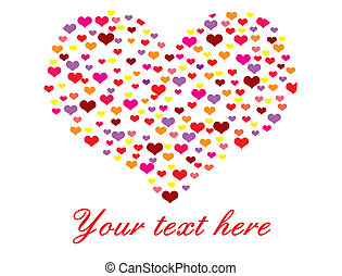 Vector illustration of heart made of many hearts on white background