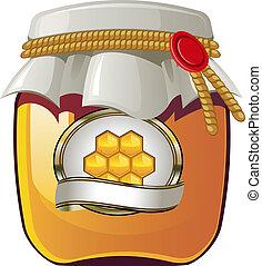 Vector illustration of Honey jar over white. EPS 8, AI, JPEG