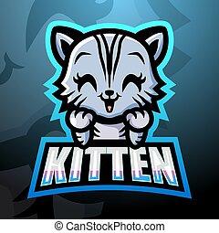 Kitten mascot esport logo design