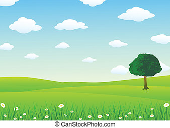 Vector Illustration Of Landscape With Grass