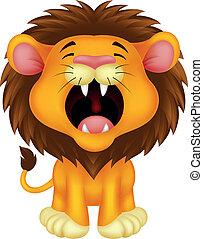 Vector illustration of Lion cartoon roaring