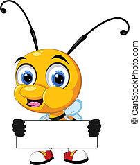 vector illustration of little bee cartoon holding blank board