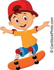 Little boy cartoon skateboarding