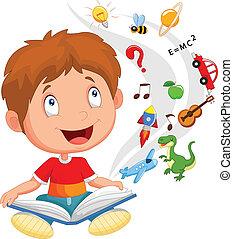 vector illustration of Little boy reading book education concept illustration