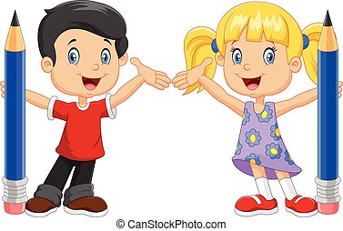 Vector illustration of Little kids holding pencil isolated on white background
