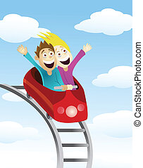 Vector Illustration Of Man and women an a roller coaster