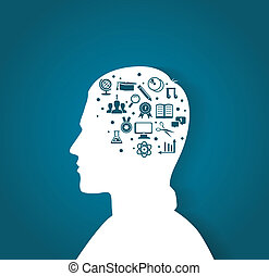 Vector illustration of Man's head with education icons