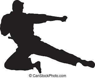 Vector Illustration of Martial Artist doing a High Kick.