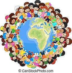 Multicultural children cartoon on p