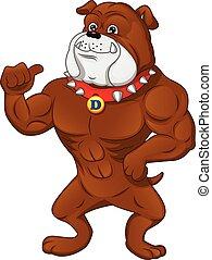 muscle english Bulldog Cartoon thumb up